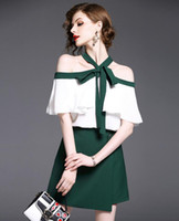 Wholesale Girl S Vogue Dress - Summer Women Vogue Two Piece Sets Ladies Sexy Strapless Ruffled Collar T Shirts Sleeveless Blouses + Girls Lovely Green Skirts Bust Skirts