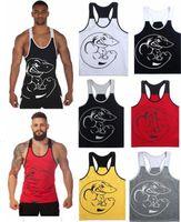 Wholesale Yellow Tank Top Mens - 6 COLORS Men Brand gym shark vest clothes fitness mens muscle bodybuilding undershirt tank tops men gymshark sleeveless singlet clothing
