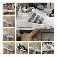 Wholesale Womens Sequin Shoes - Wholesale New Womens NMD R1 Sequins Triples Runner Primeknit Grey Pink Black White NMDS Running Shoes Training Sneaker Nmd Shoes For Women