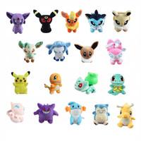 Wholesale Pokemon Stuffed Animals Eevee - Poke Doll Plush Mudkip Squirtle Charmander Bulbasaur Eevee Snorlax Pikachu Gengar Mewtwo Stuffed Toys ( 18pcs Lot   Size:12-18cm)