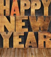 ingrosso fotografia sfondo natale di natale-Digital Printed 3D Alfabeti Happy New Year Family Photography Fondali Pavimento in legno d'epoca Sfondi di vacanze di Natale per Photo Studio