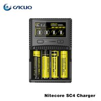Wholesale Battery Charger 6a - Authentic Nitecore SC4 Intelligent Charger 6A Rapid Charging 18650 26650 Battery E Cig Chargers LCD Screen 4 Slots 3000mA Super Fast Charger