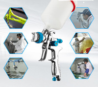 Wholesale Gun Paint Cars - Silvery Pneumatic Painting spray gun with palstic up cup for car painting and auto repair air hvlp airbrush free DHL shipping