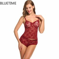 Wholesale Men S Sex Costumes - Floral Sexy Lingerie Hollow Set Nightwear Lace Backless Women Sleepdress Female Large Size Underwear Sex Costume Home Outfit