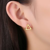Earring Studs Mulheres Triangle Post Brincos Stud 18K Rose Gold Plated Small Cute Girls Stud Ear Bridal Jewelry Set para Laides Chirstmas Gift