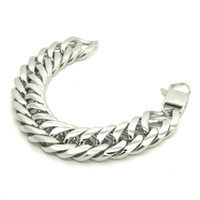Wholesale Mens Silver Curb Bracelet - mens bracelets stainless steel Silver Tone 316L Stainless Steel Curb Cuban Bracelet, 21mm Wide Mens Boys Bracelet Jewelry B489