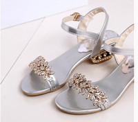Wholesale Low Heel Gold Dress Sandals - 2017 Shoes Women Sandals Luxury Bridal Shoes Summer Open Toe Party Chunky Heels Rhinestone Sandals Silver Gold Black colors