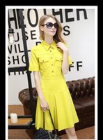 Wholesale Long Dress Brocade - 2017 new women handsome lapel OL metal buckle Slim was thin brocade short sleeve dress in the long section YG 017
