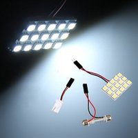 panel de domo led al por mayor-20x ICEBLUE - 6-SMD Blanco-16-SMD Blanco-15-SMD Ba9s T10 5050 LED Interior del coche Panel Panel Luz Lámpara de cúpula de adorno DIY