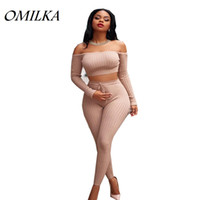 Wholesale winter yoga pants - OMILKA Crop Top and Pant Set 2017 Autumn Winter Long Sleeve Off the Shoulder Bodycon Bandage Knitted Clothing Set Tracksuits