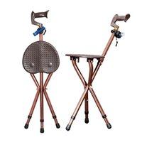 tragbarer klappstuhl stuhl großhandel-Camping Einstellbare Falten Walking Cane Stuhl Hocker Massage Walking Stick mit Sitz Tragbare Angeln Rest Hocker