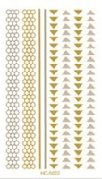 Wholesale Glitters Eyes Stickers - Wholesale- HC-5022 New Arrival Waterproof Tattoo Glitter Body Art Paint Gold Temporary Tattoo Stickers Feather Design Metallic Flash Tattoo