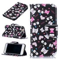 ingrosso custodia in pelle nera iphone 6s-Custodia in pelle a portafoglio modello Black Cat per Iphone X 8 6S 7 7 Plus. Supporto per porta carte di credito