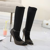 Wholesale Sexy Black Shoes Sandals - N536 2017 Summer Spring Autumn Sexy Black Perspective Sandals Boots Women Party Shoes Woman Concise Thin Heel High Heels
