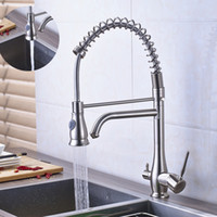 Wholesale Nickle Kitchen Faucet - Brushed Nickel Two Spout Spring pure water Spout Kitchen Faucet 3 way Function Filler Kitchen Mixer Taps