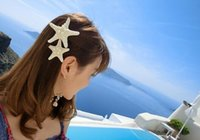 Wholesale Cheap Holiday Accessories - Cheap Price beach hair Fashion personality of pure natural starfish beach holiday edge clip hair accessories hairpin LLFA