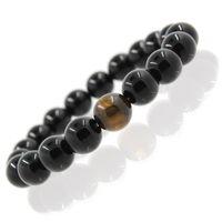 Wholesale rocks stones gems - Rock Stone Bracelet Black Mens Agate Gems 3 Size High Quality Natural Stone Energy Bracelet Elastic Bracelet B340S