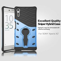 Wholesale E5 Phones - Rugged Armor Mobile Phone Shockproof Case 2 in 1 Sniper Hybrid TPU + PC 360 Degree Rotate Stand Case for Sony Xperia XZ X Compact E5