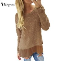 Wholesale Glitter Sweater - Wholesale-TANGNEST Women Fashion Loose Patchwork Pullovers 2016 New European Autumn Glittering Knitted Long Sleeve Split Sweaters WZL1156
