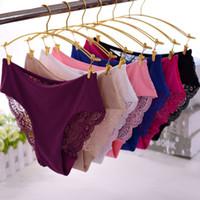 Wholesale Medium Lingerie - Medium Waist Ladies Sexy Lace Briefs Knickers Underwear 7 Colors Women Seamless Temptation Panties Lingerie Underpants M L