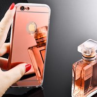 Wholesale Cell Phone Mirror Cover - For iPhone 6 6s 7 8 Plus Cell Phone Cases Mirror Electroplating Back Cover TPU Dirt Resistant Protective