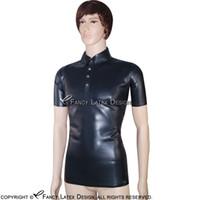 Wholesale Male Fetish Collar - Black Sexy Latex Shirt Polo Shirt Short Sleeves Fetish Rubber Clothings Plus Size Male New Hotsales