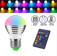 Wholesale E14 Led Bulb Globe 3w - E27 B22 E14 GU10 16 Color Changeable RGB Magic 3W LED Spotlight Bulb Lamp 85-265V 110V 220V Led Light Spotlight + IR Remote Control