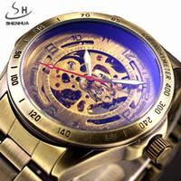 Wholesale Shenhua Watches - Wholesale- SHENHUA Retro Bronze Case Men Skeleton Automatic Mechanical Watches Analog Male Clock Stainless Steel Strap Self Wind Watch