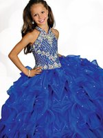 Splendida perline Halter High Neckline Girls Abiti da spettacolo 2017 Pieghettato blu organza Flower Girls Dresses con perline Party Gowns Personalizza