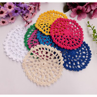 Wholesale Tablecloths Wholesale For Weddings Free - 50pcs lot Handmade Crochet Tablecloth 11cm Colorful flower Placemat Vintage Look Crocheted Doilies For Wedding Gift Free Shipping