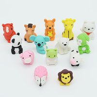 Wholesale Kawaii Design - 14pcs  set Animal eraser eraser set School and office supplies erasers Lovely drawing correction tool Kawaii stationery rubber Fun rubber