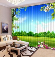 spring door decorations - Photo Customize size window curtain living room spring scenery home decor decoration