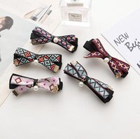 Wholesale Tie Clips Order - Brand new Fashion wild hairpin cloth bow tie pearl spring clip folder FJ155 mix order 60 pieces a lot