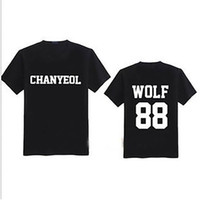 Wholesale Exo Wolf Shorts - Wholesale- 2016 Summer new arrival short sleeve t shirt top tee EXO WOLF plus size black paired t-shirts letter print couple clothing tops