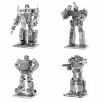 Wholesale Robot Optimus Prime - 3D DIY Metal Puzzle Bumblebee Optimus Prime Soundwave Megatron Transformation Robot Model Autobots Adult Jigsaw Toy