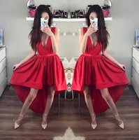 Wholesale Simple Black Cocktail Dress Designs - Vestidos Red High Low Prom Dresses 2017 Simple Designed Satin Evening Gowns Sexy Deep V Neck Homecoming Cocktail Dresses