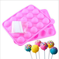 Wholesale Cake Pop Baking Tray - Pink Silicone Tray Pop Cake Stick Pops Mould Cupcake Baking Mold Party Kitchen Tools 22.5*4*18cm