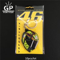 Wholesale Helmet Keyring - 10pcs lot VR46 THE DOCTOR motoGp Keyring Motorcycle helmet keychain PVC Rubber soft Keychains with package yellow for Rossi 46