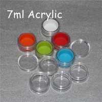 Wholesale Organizer Acrylic - 7ml clear acrylic silicone wax concentrate containers, Non-stick silicone Dab Hash Oil Dry Herb Storage Jars 100% food grade Silicon box