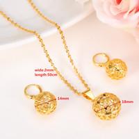 altın top zincir kolye kadın toptan satış-Yuvarlak Top Kolye Kolye zinciri Küpe setleri Takı kadınlar için 24 K Sarı Ince Altın GF Boncuk Kolye setleri