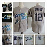 Wholesale Cheap Baseball Pullovers - Mens cheap Tampa Bay Rays 1998 white Cooperstown Vintage Jersey stiched #12 Wade Boggs Rays Black Mesh BP Pullover Throwback Jersey S-3XL
