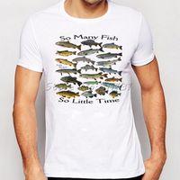 Wholesale Fishing Shirt Xl Long Sleeve - Wholesale- Summer Men Funny So many fish freshwater Printed T Shirt Fashion Novelty Short Sleeve Tee Tops Homme Clothes
