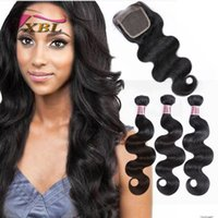 Wholesale Total One Wholesale - xblhair body wave human hair extensions peruvian virgin hair within closure( lace size 4by4) total 4 pieces one set