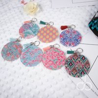 Wholesale Buckle Blanks - Acrylic Lilly Key Fob Wholesale Blanks Round Keychain With Metal Buckles In Front And Tassel 7 Colors DOM106620