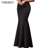 Wholesale 2017 Party Club Elastic Women Maxi Skirt Female Vestidos Brief Elegant Solid Black Sexy Mermaid Luxe Summer Long Dress E65024
