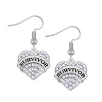 Crystal Heart Drop Earrings SURVIVOR Silver Color Fashion Dangle Brincos para mulheres Jóias