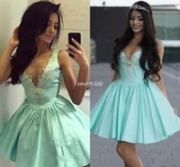 Wholesale Semi Sexy Sheer Sleeve - Light Mint Blue Short Cocktail Dress 2017 Sexy Scoop Neck Sleeveless Homecoming Dresses Applique Elastic Stain Zipper Semi Prom Party Dress