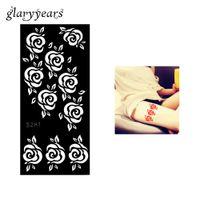 Wholesale Tattoo Pieces Arm - Wholesale-1 Piece Hollow Henna Tattoo Stencil Rose Flower Pattern Airbrush Painting Female Leg Arm Art Henna Tattoo Template Hot Sale S281