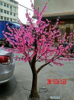 arbre led artificiel jardin achat en gros de-Artificielle lampe de cerisier 2 m de haut 1536pcs LED maison jardin simulation arbre lumière décoration extérieure lampe arbre De noël décoration de mariage