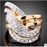 Wholesale Long Fashion Rings Diamonds - High-end luxury fashion temperament set full diamond gold ring Long lasting color preserving ring two colors can choose